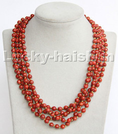 """natural 18"""" 5row Baroque round red sponge coral beads necklace c187"""