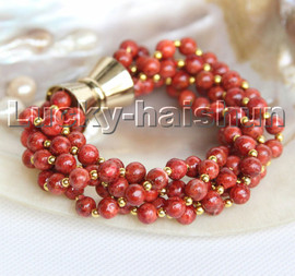 """natural 8"""" 5row Baroque round red sponge coral beads bracelet magnet clasp c188"""