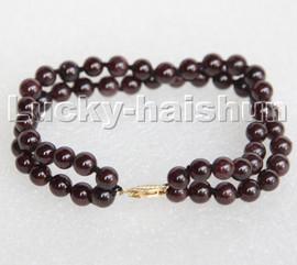 "natural 8"" 2row 6mm round red garnet beads Strand bracelet 14K gold clasp c189"