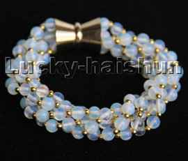 """natural 8"""" 5row 6mm round white moonstone beads Strand bracelet magnet clasp c190"""