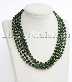 """natural 18"""" 6mm 5row round dark green jade Beaded Strand necklace magnet clasp c191"""