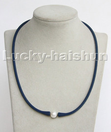 """natural 16"""" 11mm springy round white pearls blue Silicone rubber necklace c193"""