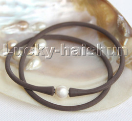 """natural 16"""" 11mm springy round white pearls coffee Silicone rubber necklace c194"""