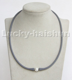 """natural 20"""" 11mm springy round white pearls gray Silicone rubber necklace c195"""