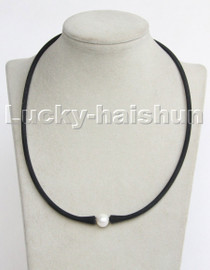 """natural 16"""" 11mm springy round white pearls black Silicone rubber necklace c196"""