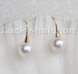 natural Luster Dangle 11mm round white pearls Earrings 14K Solid gold hook c197