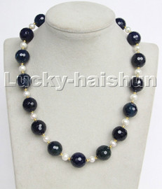 """natural 18"""" 14mm round diced faceted navy blue agate white pearls necklace c199"""