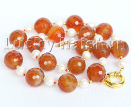 """natural 18"""" 14mm round diced faceted red agate white pearls necklace c203"""