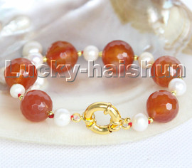 """natural 8"""" 14mm round diced faceted red agate white pearls Bracelet c204"""