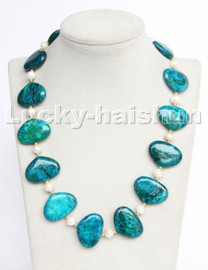 """natural 18"""" 30mm oval block-shaped Azurite chrysocolla white pearl necklace c207"""