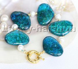 "natural 8"" 30mm oval block-shaped Azurite chrysocolla white pearl Bracelet c208"