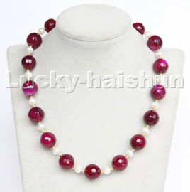 """natural 18"""" 14mm round diced faceted rose purple agate white pearl necklace c209"""