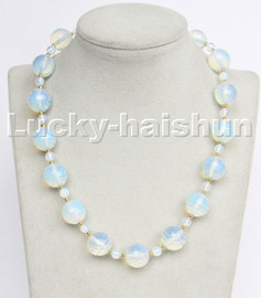 """AAA 100% natural 18"""" 16mm round faceted moonstone gemstone necklace c212"""