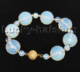 """AAA 100% natural 8"""" 16mm round faceted moonstone gemstone Bracelet c213"""