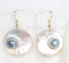 natural rare 22mm white Gray South Sea Mabe Pearl Earrings 14K Dangle c216