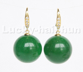 natural Dangle 20mm round green jade beads Earrings 925s silver hook c217