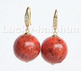 natural Dangle 18mm round red sponge coral beads Earrings 925s silver hook c219