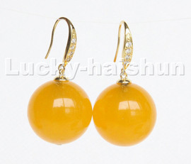 natural Dangle 20mm round yellow jade beads Earrings 925s silver hook c220