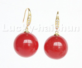 natural Dangle 20mm round Red jade beads Earrings 925s silver hook c221