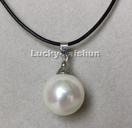 """AAA 17"""" 20mm round white south sea shell pearls pendant necklace c222"""