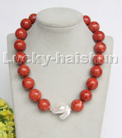"""AAA natural 18"""" 19mm round red sponge coral Keshi Pearls necklace c224"""
