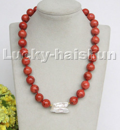 """AAA natural 18"""" 14mm round red sponge coral Keshi Pearls necklace c225"""