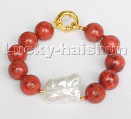 "AAA natural 8"" 14mm round red sponge coral Keshi Pearls Bracelet c226"