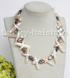 """Baroque 18"""" 48mm white black pink Cross freshwater pearls necklace18KGP c227"""