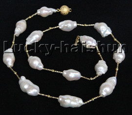 """Super Luster Baroque 21"""" 23mm white Reborn keshi pearl necklace filled gold clasp c229"""