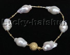 "Super Luster Baroque 8"" 23mm white Reborn keshi pearls Bracelet filled gold clasp c230"