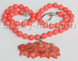 """natural 19"""" 8mm round flower Pink coral beads pendant necklace 18KGP clasp c232"""