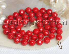 """natural 18"""" 8mm round faceted red coral beads necklace 14K gold clasp c234"""