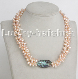 """Baroque 17"""" 3row rice pink pearls abalone shell necklace seashell clasp c235"""