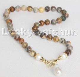 """18"""" 10mm Multicolor Picasso Jasper Reborn keshi pearl pendant necklace c236"""