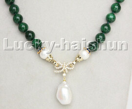 "natural 18"" 10mm round green jade Reborn keshi pearls pendant necklace c237"