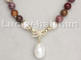 "18"" 10mm Multicolor Picasso Jasper Reborn keshi pearls pendant necklace c238"