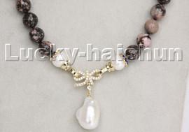 "18"" 10mm Multi-Color Rhodonite Reborn keshi pearls pendant pendant necklace c239"