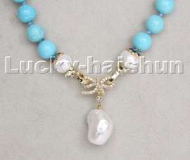 """AAA 18"""" 10mm sky-blue turquoise white Reborn keshi pearls pendant necklace c240"""
