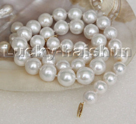 """LUSTER NATURAL 17"""" 13MM ROUND WHITE SOUTH SEA PEARL NECKLACE 14K SOLID CLASP C244"""
