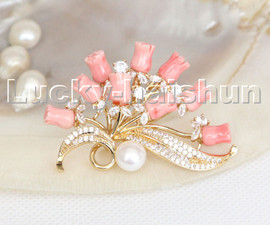 AAA 100% natural carved pink coral flower pearls brooch pendant c245