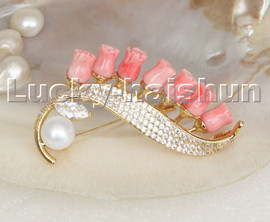 AAA 100% natural carved pink coral flower white pearls brooch filled gold c246