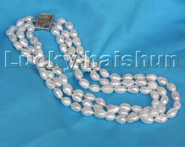 """17"""" 13mm 3row Baroque white Freeform potato pearls necklace Abalone clasp c251"""