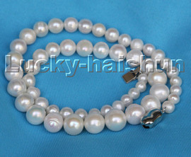 """Graduated 16"""" 6-11mm white round freshwater pearls necklace 18KGP c252"""
