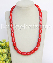"""AAA natural Long 22"""" 17mm column Red coral beads necklace gold plated clasp c253"""