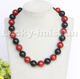 """AAAA Genuine NATURAL 18"""" 16MM ROUND RED BLACK SPONGE CORAL NECKLACE C255"""