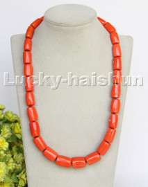 """AAA natural Long 23"""" 19mm column pink orange coral beads necklace gold plated clasp c258"""