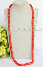 """AAA natural Long 33"""" 10mm column pink orange coral beads necklace gold plated clasp c259"""