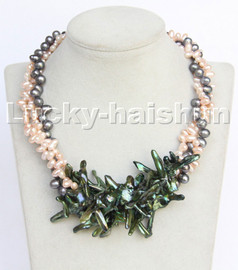 """ONLY Baroque 17.5"""" 3row Multicolor rice cross pearls necklace magnet clasp c261"""