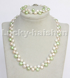 """17"""" 7.5"""" 7mm 8mm round green white Multicolor pearls necklace bracelet set c262"""