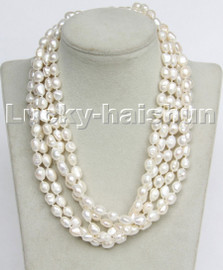 """AAA 5psc 18"""" 10mm Baroque potato white pearls necklace 18KGP clasp c263"""